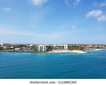 Oranjestad, Aruba; 04 25 2018: Beautiful panoramic view of the coastline city of Oranjestad from the Monarch cruise