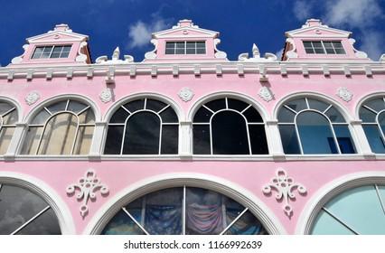 ORANJESTAD ARUBA 10 30 2012; Typical dutch design architecture . Center square in Oranjestad Aruba Caribbean windward islands lesser antillies west indies.