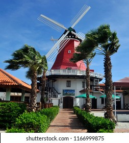 ORANJESTAD ARUBA 10 30 2012; De Oude Molen (The Old Windmill) Built in 1804 in Holland to pump water from the lowlands was purchased in 1960 and transported to Aruba in March, 1961 where it sits today
