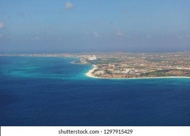 ORANJESTAD, ARUBA -12 JAN 2019- Aerial view of the Caribbean island of Aruba in approach to the Queen Beatrix International Airport (AUA) in Oranjestad.