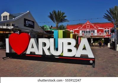 ORANJESTAD, ARUBA -18 JUN 2016- Sign saying I LOVE ARUBA in downtown Orangestad, the capital of the Caribbean island of Aruba.