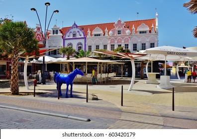 ORANJESTAD, ARUBA -18 JUN 2016- View of downtown Oranjestad, the capital of the Caribbean island of Aruba. It is a major cruise ship destination.