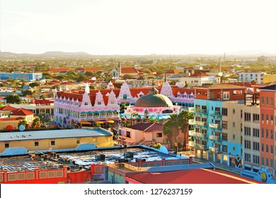 Oranjestad, Aruba, Caribbean - February 20th 2018: An early morning view over Oranjestad, the capital of Aruba, taken from the top of a cruise ship docked in Oranjestad port.