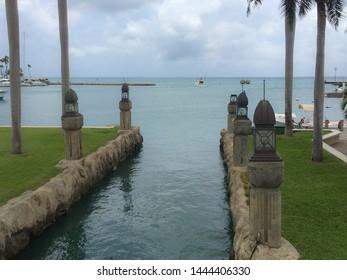 Oranjestad, Aruba / Caribbean - Mar 2016 Aruba is a generally flat, riverless island in the Leeward Antilles island arc of the Lesser Antilles in the southern part of the Caribbean