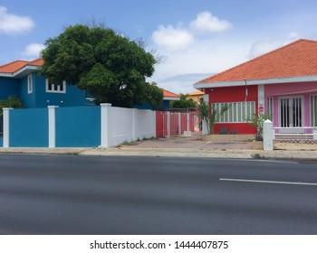 Oranjestad, Aruba / Caribbean - Mar 2016 Typical dutch design architecture . Center square in Oranjestad Aruba