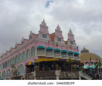 Oranjestad, Aruba / Caribbean - Mar 2016 Center square in Oranjestad Aruba Typical dutch design architecture.