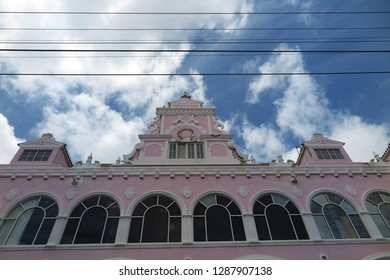 Oranjestad, Aruba, Caribbean sea. July 2018; Typical dutch design architecture  in Oranjestad city