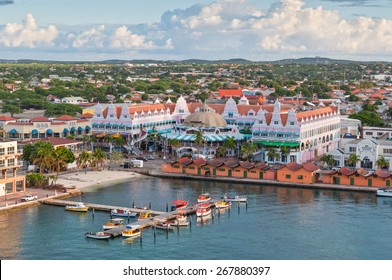 ORANJESTAD, ARUBA - DECEMBER 01: View from above of colorful buildings in Oranjestad on the island of Aruba in the morning sun at December 01, 2011.