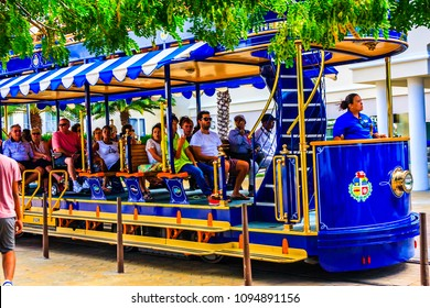 Oranjestad, Aruba - February 15, 2018 - Tram Car in Aruba