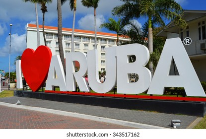 ORANJESTAD, ARUBA - FEBRUARY 20, 2015 - Since the I Love Aruba sign was erected in downtown Oranjestad, it has become one of the most photographed landmarks on the island