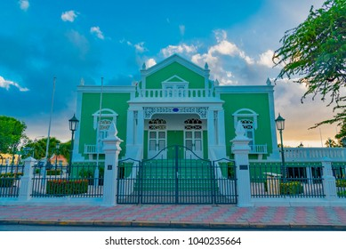 Oranjestad, Aruba - January 10 2018:   Colorful city of Oranjestad is the capital and the main city of Aruba (Caribbean Sea) with typical Dutch style houses