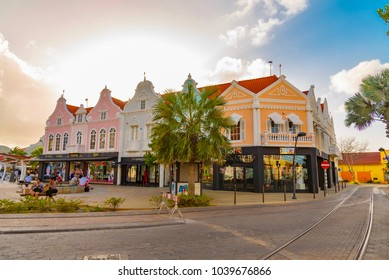 Oranjestad, Aruba - January 11 2018:  Example of vibrant and colorful Dutch architecture on buildings in Caribbean city of downtown Oranjestad, Aruba