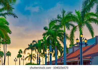 Oranjestad, Aruba - January 12 2018:   Colorful city of Oranjestad is the capital and the main city of Aruba (Caribbean Sea) with typical Dutch style houses