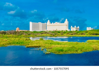 "Oranjestad, Aruba - January 12 2018:   view of the great Resort ""Riu Palace"" in the Palm Beach of Aruba island of the Caribbean sea"