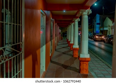 Oranjestad, Aruba - January 13 2018:   colorful architecture in the central street of the city of Oranjestad in the Aruba island of the Caribbean sea