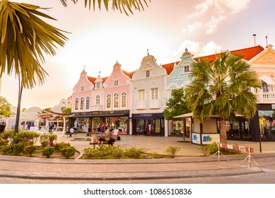 Oranjestad, Aruba - January 8, 2018: View of the main street of the picturesque town of Oranjestad.