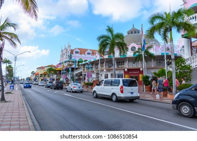 Oranjestad, Aruba - January 8, 2018: View of the main street of the picturesque town of Oranjestad.