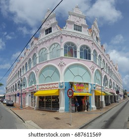 ORANJESTAD, ARUBA - JULY 25, 2017: Downtown panorama with typical Dutch colonial architecture. Oranjestad is the capital and largest city of Aruba