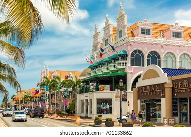 ORANJESTAD, ARUBA - JULY 25, 2017: Lloyd G. Smith Boulevard on a summer day. This main thoroughfare in the city has recently become an important shopping area.