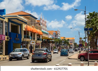 ORANJESTAD, ARUBA - MARCH 17, 2017:  Street view of busy tourist shopping district in  Caribbean city of Oranjestad, Aruba