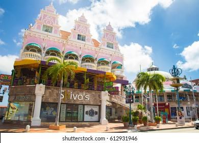 ORANJESTAD, ARUBA - MARCH 17, 2017:  Colorful Dutch architecture at popular outdoor mall in downtown Oranjestad, Aruba,