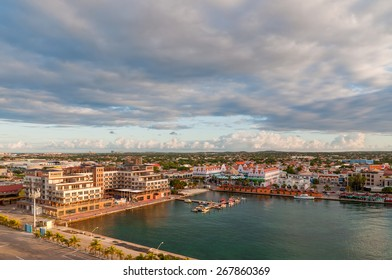 ORANJESTAD, ARUBA, NETHERLANDS - DECEMBER 01: View from above of colorful buildings in Oranjestad on the island of Aruba in the morning sun at December 01, 2011.