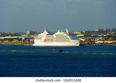 Oranjestad, Aruba - November 16, 2018 - Regent Seven Sea cruiseship docked on the port