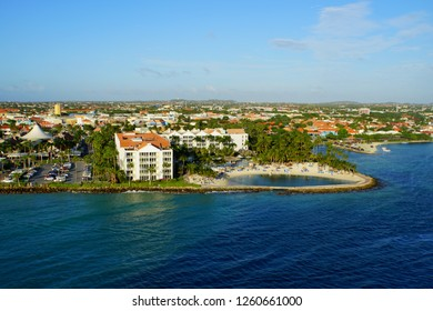 Oranjestad, Aruba - November 17, 2018 - The view of the resorts and buildings along the bay