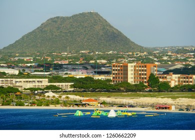 Oranjestad, Aruba - November 17, 2018 - The view of the beach, resorts and buildings along the bay