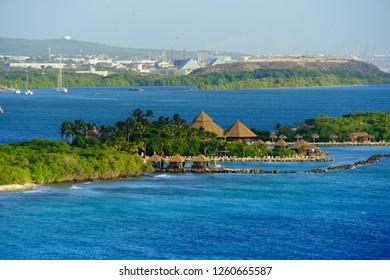 Oranjestad, Aruba - November 17, 2018 - The view of the luxury resort along the bay