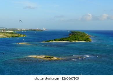 Oranjestad, Aruba - November 17, 2018 - The view of the small islands around luxury resort along the bay