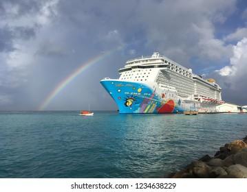 Oranjestad, Aruba: November 5, 2018: A Colorful Cruise Ship Called Norwegian Breakaway, NCL, Docked at Oranjestad Harbor