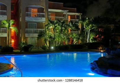 Oranjestad, Aruba/NL, November 11, 2018: Pool area of a resort at night
