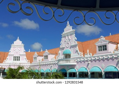 Oranjestad, Aruba/NL - November 11, 2018: Traditional pink architecture in the Royal Mall
