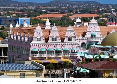 Oranjestad/Aruba-January 11, 2014:The Royal Plaza Mall at cruise ship terminal, Oranjestad