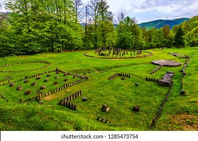 Orastie Mountains, Hunedoara, Romania: Ancient ruins at Sarmizegetusa Regia (Sarmisegetusa Sarmisegethusa Sarmisegethuza) legendary capital of Dacia (Dacians), in the forests of Carpathians mountains.