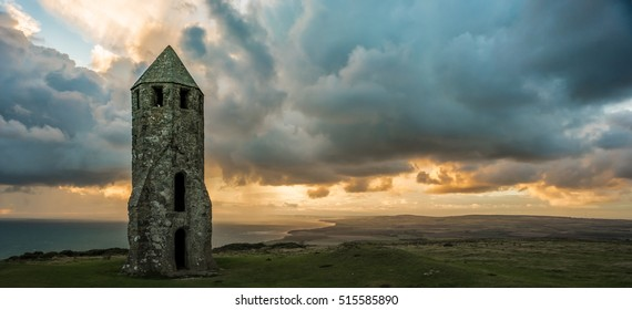 The Oratory at St. Catherine's Hill, Isle of Wight with rain approaching in the background.
