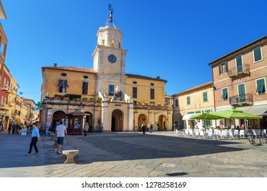 Orbetello, Italy - October 08, 2018: View of Piazza Eroe dei Due Mondi in Orbetello on peninsula Argentario. Tuscany. Italy