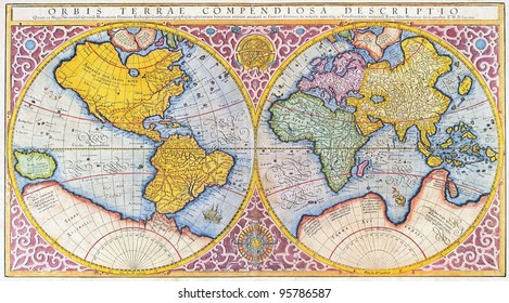 Orbis Terrae Compendiosa Descriptio. 16th century map of the world in latin, by Mercator, Published 1587