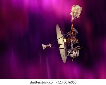 Orbit satellite speeding through the space