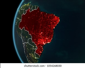 Orbit view of Brazil highlighted in red with visible borderlines and city lights on planet Earth at night. 3D illustration. Elements of this image furnished by NASA.