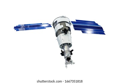 Orbital artificial earth satellite with blue solar panels on sides surface probing isolated on white background