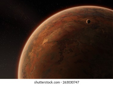 Orbital view on an extraterrestrial desert planet with atmosphere and a moon