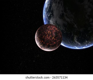Orbital view on an extraterrestrial Earth-like planet with atmosphere and its satellite moon covered in lava rivers