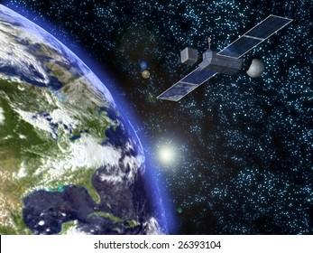 an orbiting satellite