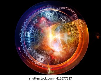 Orbits of Destiny series. Interplay of sacred symbols, signs, geometry and designs on the subject of astrology, alchemy, magic, witchcraft and fortune telling