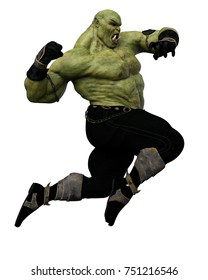 orc prince jumping for war 3d illustration