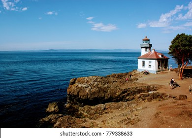 Orcas island shore with lighthouse
