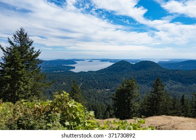 Orcas Island View of the Puget Sound, Forests, and Mountain Peaks from Eastsound, Washington