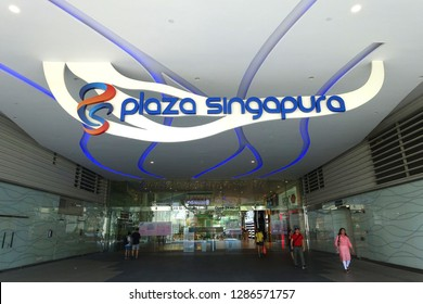 Orchard Road, Singapore - January 12, 2019 : Close up of a Plaza Singapura signage at Dhoby Ghaut Station